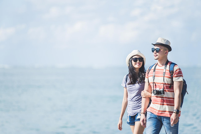backpackers couple wearing summer hat sunglasses walking resize